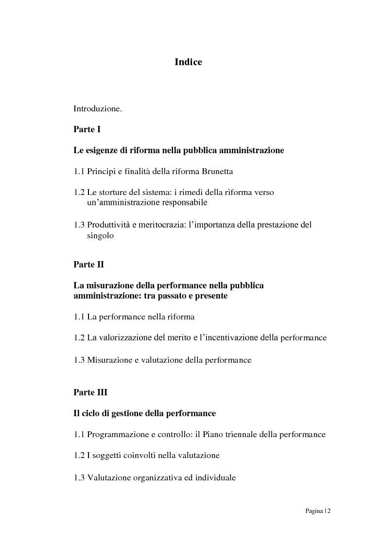 Indice della tesi: Riforma Brunetta: valutazione della performance nella Pubblica Amministrazione, Pagina 1