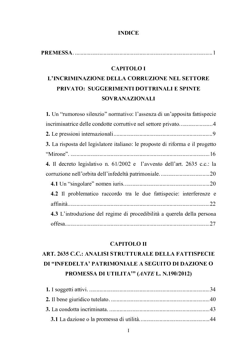 Indice della tesi: La corruzione tra privati, Pagina 1
