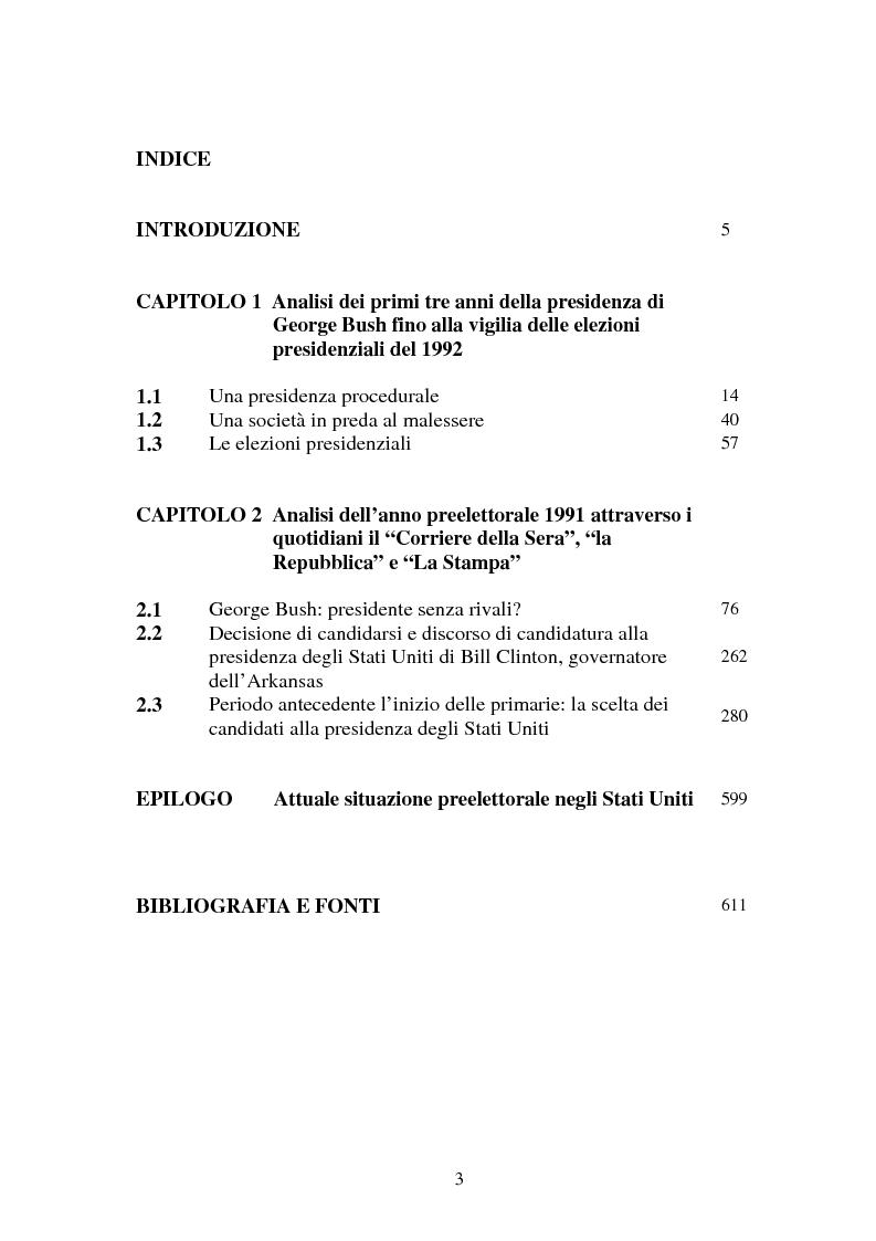 Indice della tesi: L'approssimarsi delle elezioni presidenziali americane del 1992 e il giudizio sui vari candidati da parte dei giornalisti del ''Corriere della Sera'', de ''la Repubblica'' e de ''La Stampa'', Pagina 1