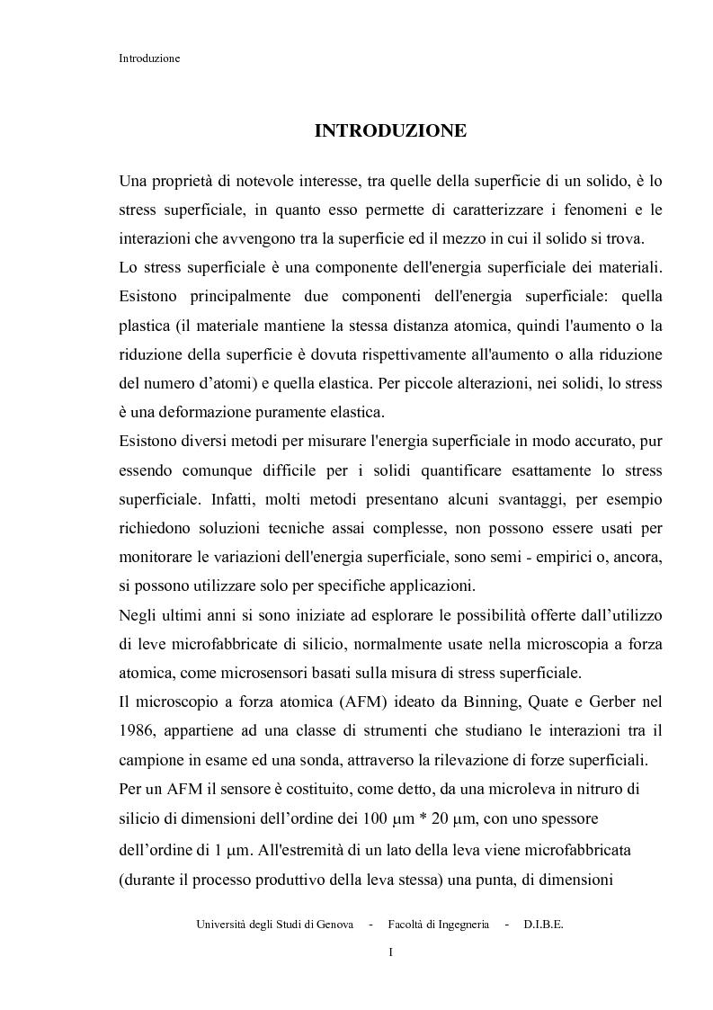Anteprima della tesi: Utilizzo di microleve in silicio per applicazioni biosensoristiche, Pagina 1