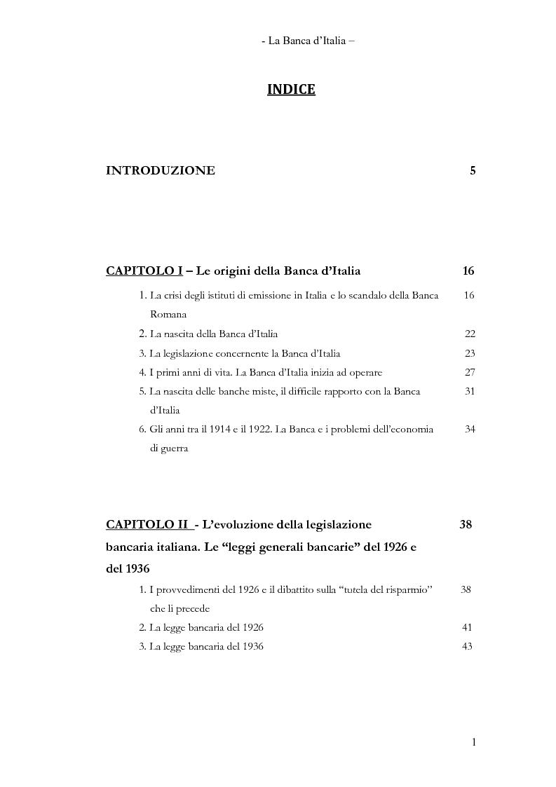 Indice della tesi: La Banca d'Italia, Pagina 1