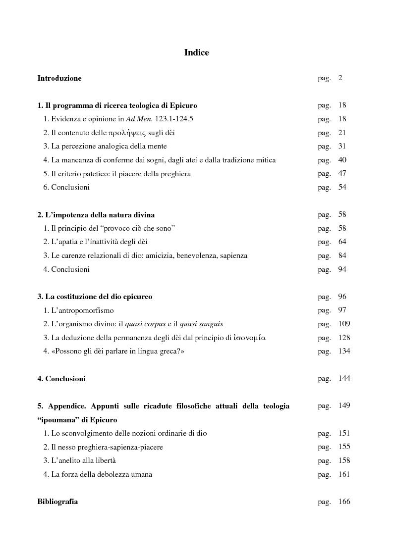 Indice della tesi: La persona eccezionale. Natura reale e conoscibilità mentale degli dèi di Epicuro, Pagina 1