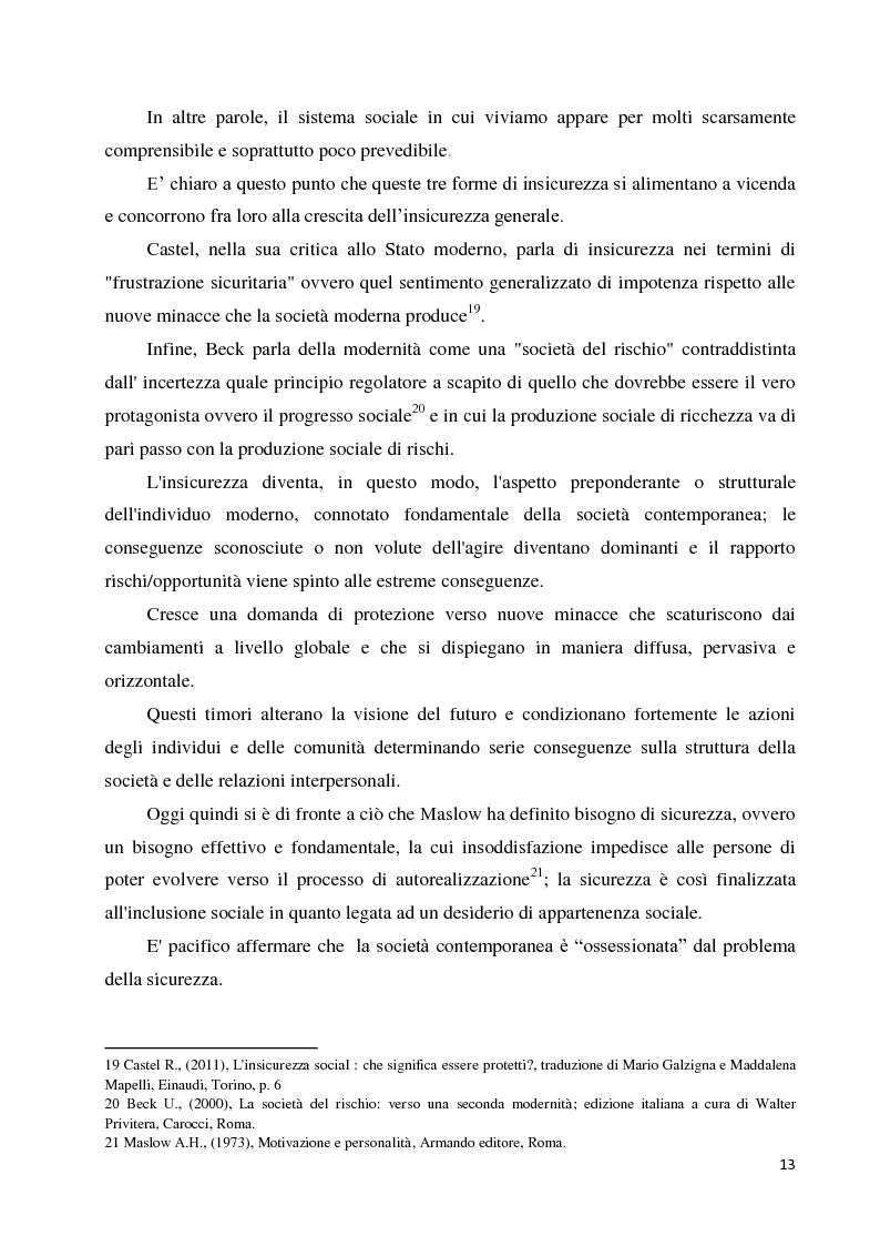 Anteprima della tesi: La paura della criminalità nella città di Forlì: analisi comparativa tra criminalità reale e senso di insicurezza percepito, Pagina 11