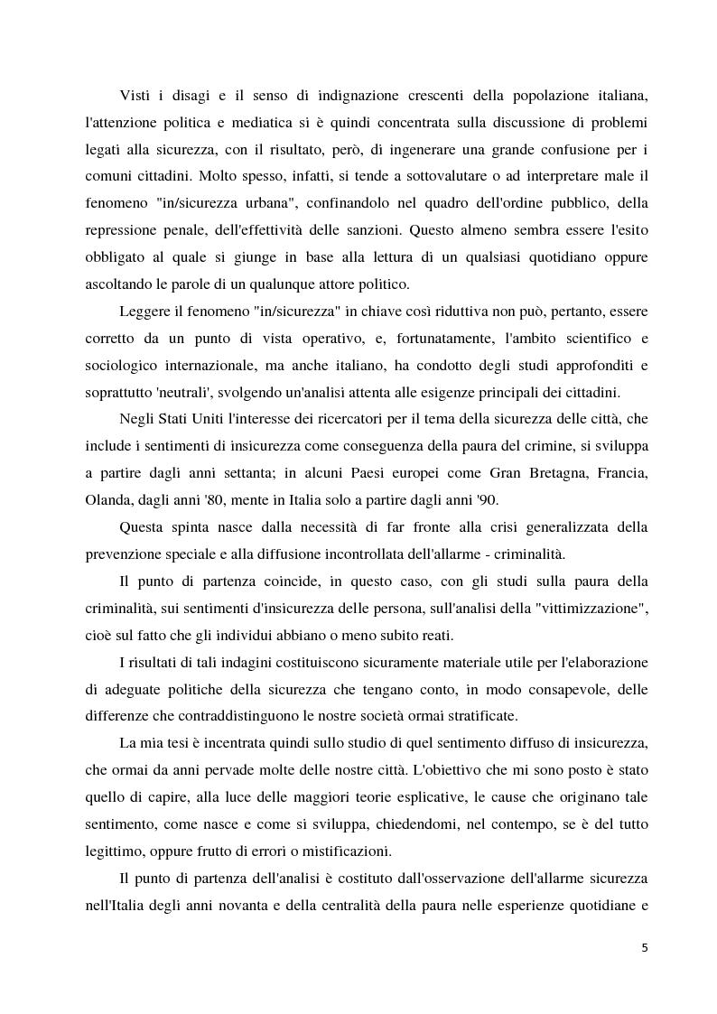 Anteprima della tesi: La paura della criminalità nella città di Forlì: analisi comparativa tra criminalità reale e senso di insicurezza percepito, Pagina 3