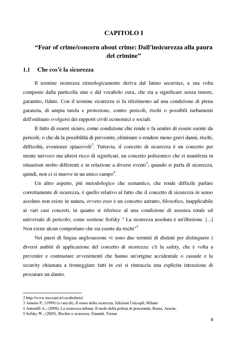 Anteprima della tesi: La paura della criminalità nella città di Forlì: analisi comparativa tra criminalità reale e senso di insicurezza percepito, Pagina 6