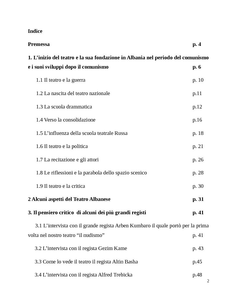 Indice della tesi: La fondazione del Teatro Albanese, Pagina 1