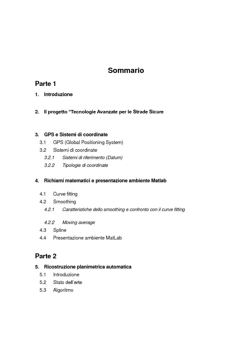 Indice della tesi: Ricostruzione planimetrica automatica di tracciati stradali a partire da dati GPS finalizzata a meccanismi di assistenza alla guida, Pagina 1