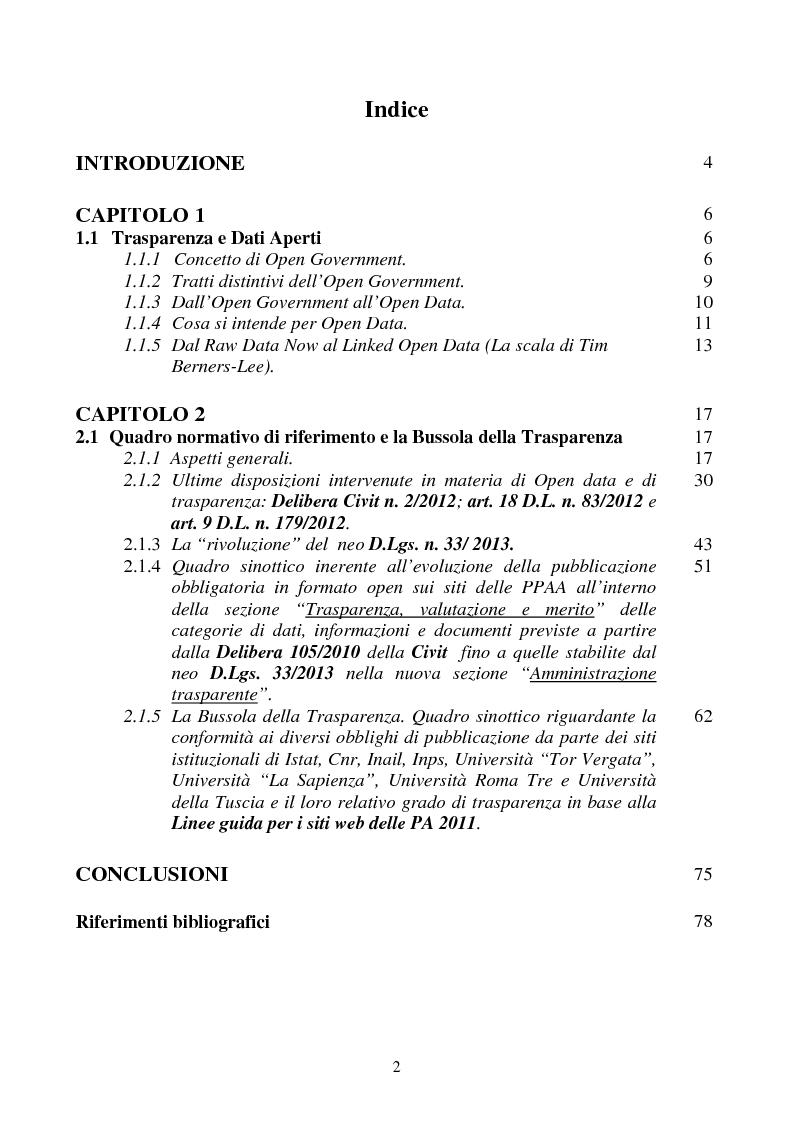 Indice della tesi: Trasparenza e Open Data: l'evoluzione del quadro normativo fino all'emanazione del neo D.Lgs. 33/2013. La Bussola della Trasparenza., Pagina 1