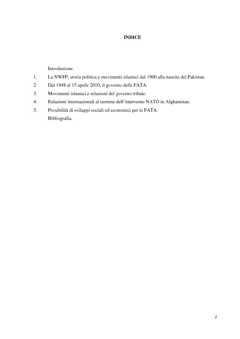 Indice della tesi: Un esempio di realtà tribale nello scacchiere internazionale: il governo delle Federally Administered Tribal Areas., Pagina 1