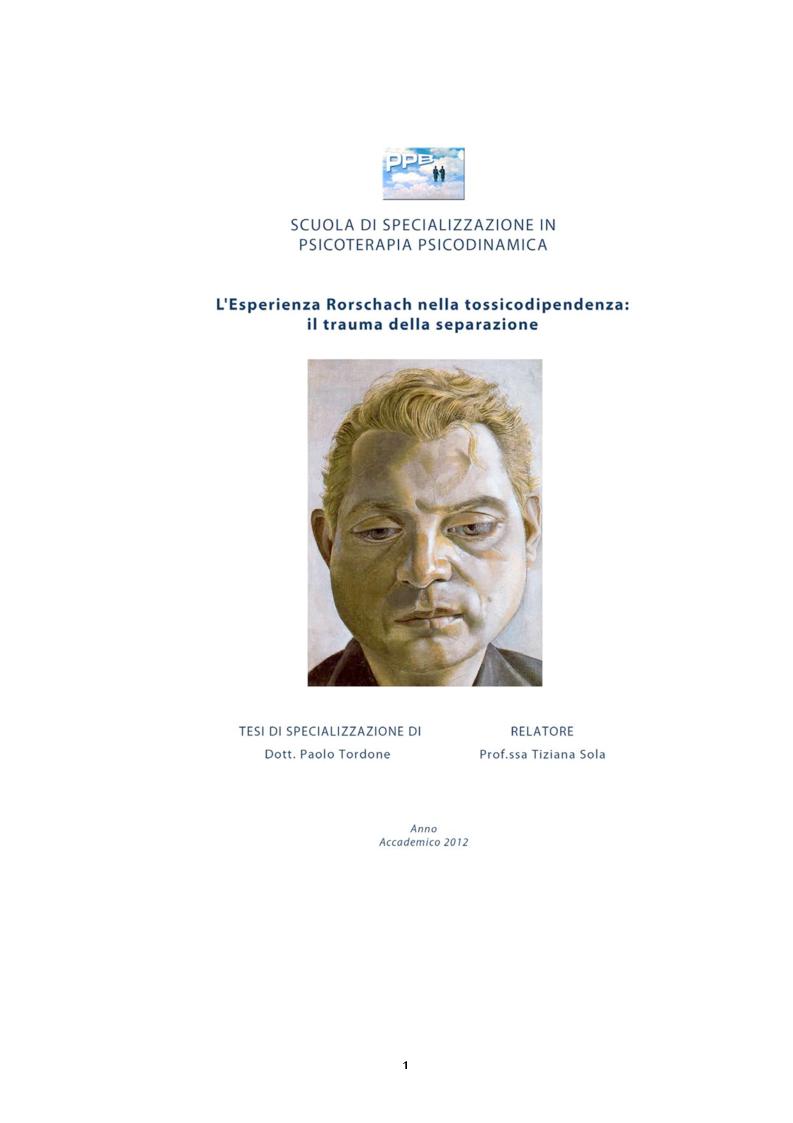 Anteprima della tesi: L'Esperienza Rorschach nella tossicodipendenza, Pagina 1