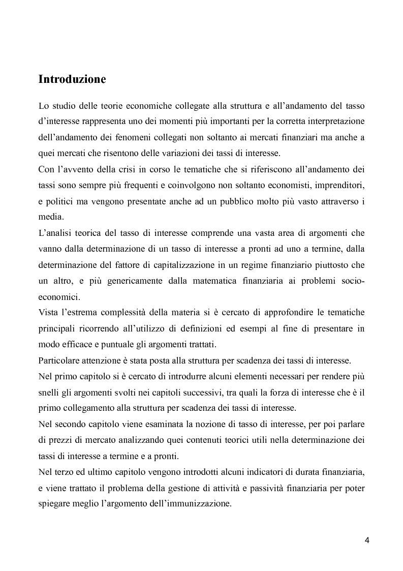 La struttura per scadenza dei tassi d'interesse e la teoria dell'immunizzazione finanziaria: Considerazioni - Tesi di La...