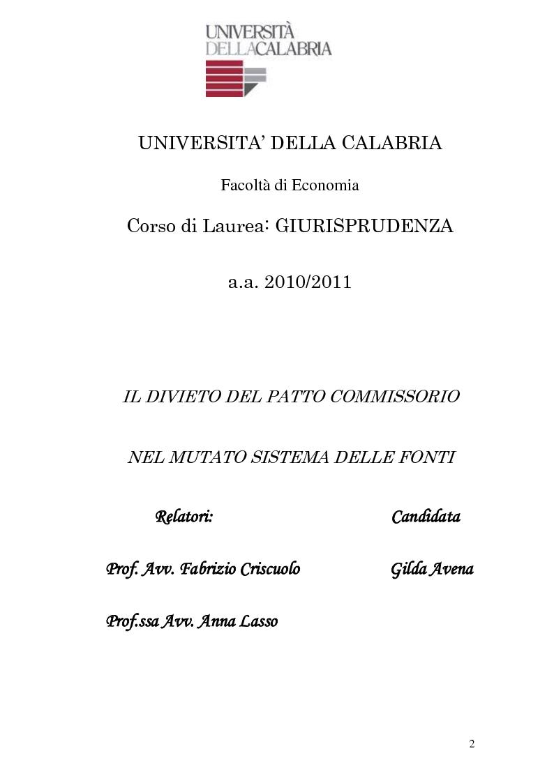 Anteprima della tesi: Il divieto del patto commissorio nel mutato sistema delle fonti., Pagina 1