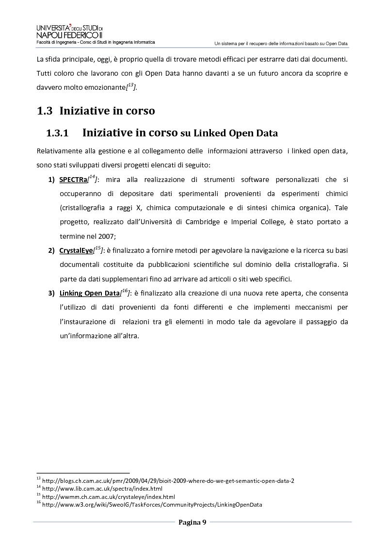 Anteprima della tesi: Un sistema per il recupero delle informazioni basato su Open Data, Pagina 6