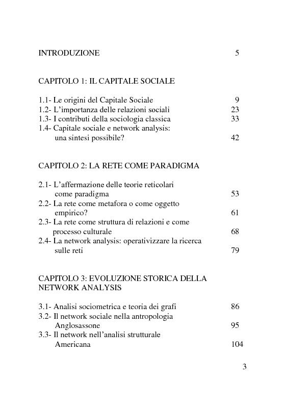 Indice della tesi: Capitale sociale: una prospettiva di analisi attraverso la network analysis, Pagina 1
