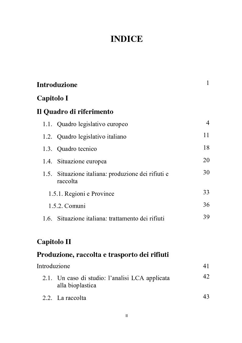 Indice della tesi: La gestione integrata dei rifiuti, Pagina 1