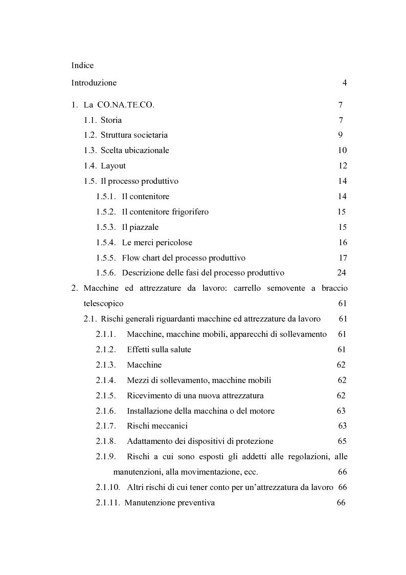 Indice della tesi: Valutazione dei rischi legati ad attrezzature semoventi a braccio telescopico: il caso CO.NA.TE.CO., Pagina 1