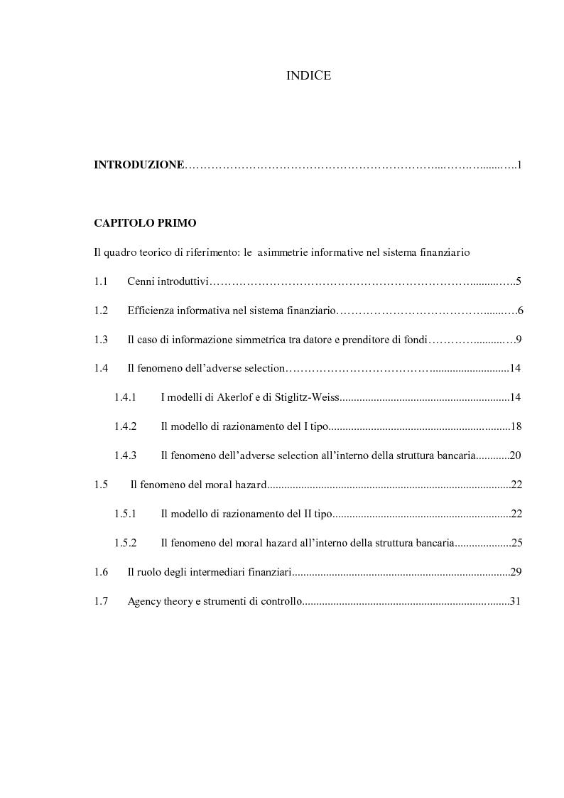 Indice della tesi: Struttura organizzativa e valutazione del rischio di credito, Pagina 1