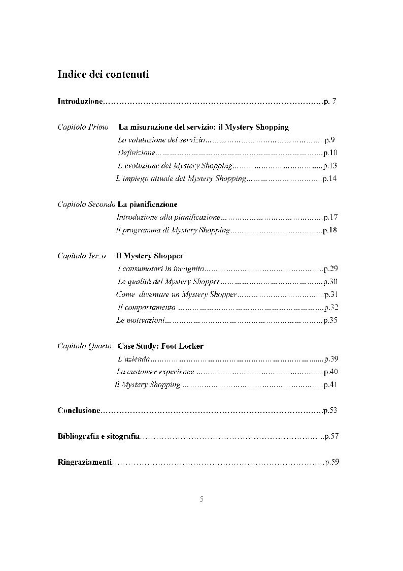 Indice della tesi: Le potenzialità delle tecniche del Mystery Shopping nel settore retail, Pagina 1