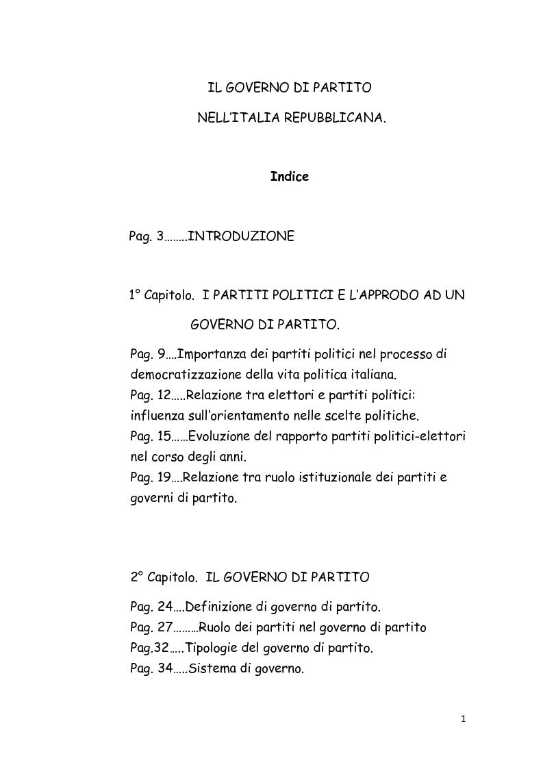 Indice della tesi: Il Governo di partito nell'Italia repubblicana, Pagina 1