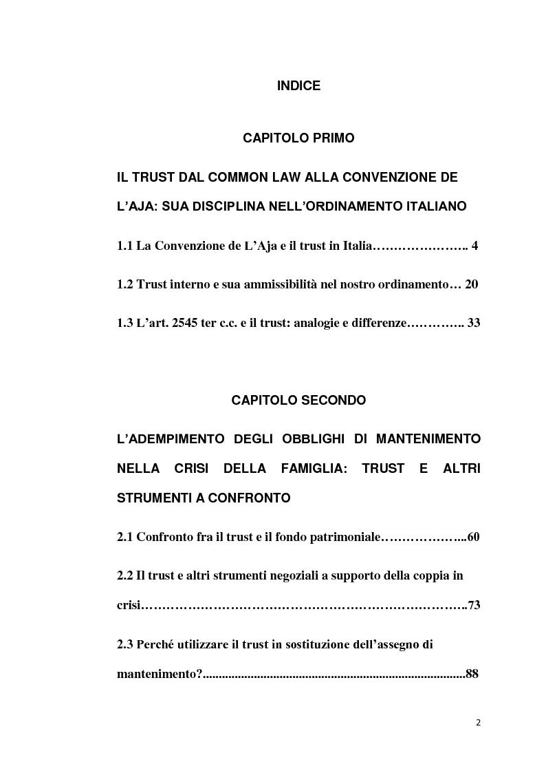 Indice della tesi: Il Trust applicato alla crisi della famiglia, Pagina 1