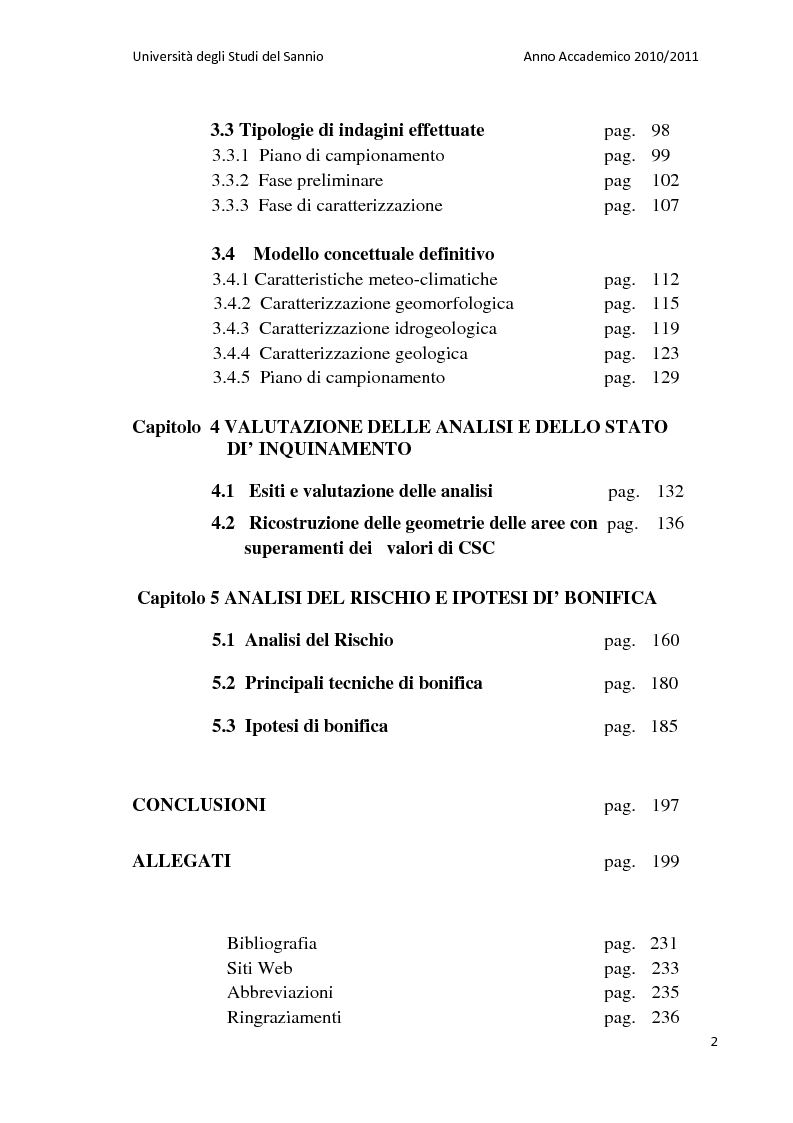 Indice della tesi: La bonifica dell'ex discarica comunale di Castelfranco in Miscano: indagini conoscitive ed ipotesi di intervento, Pagina 2