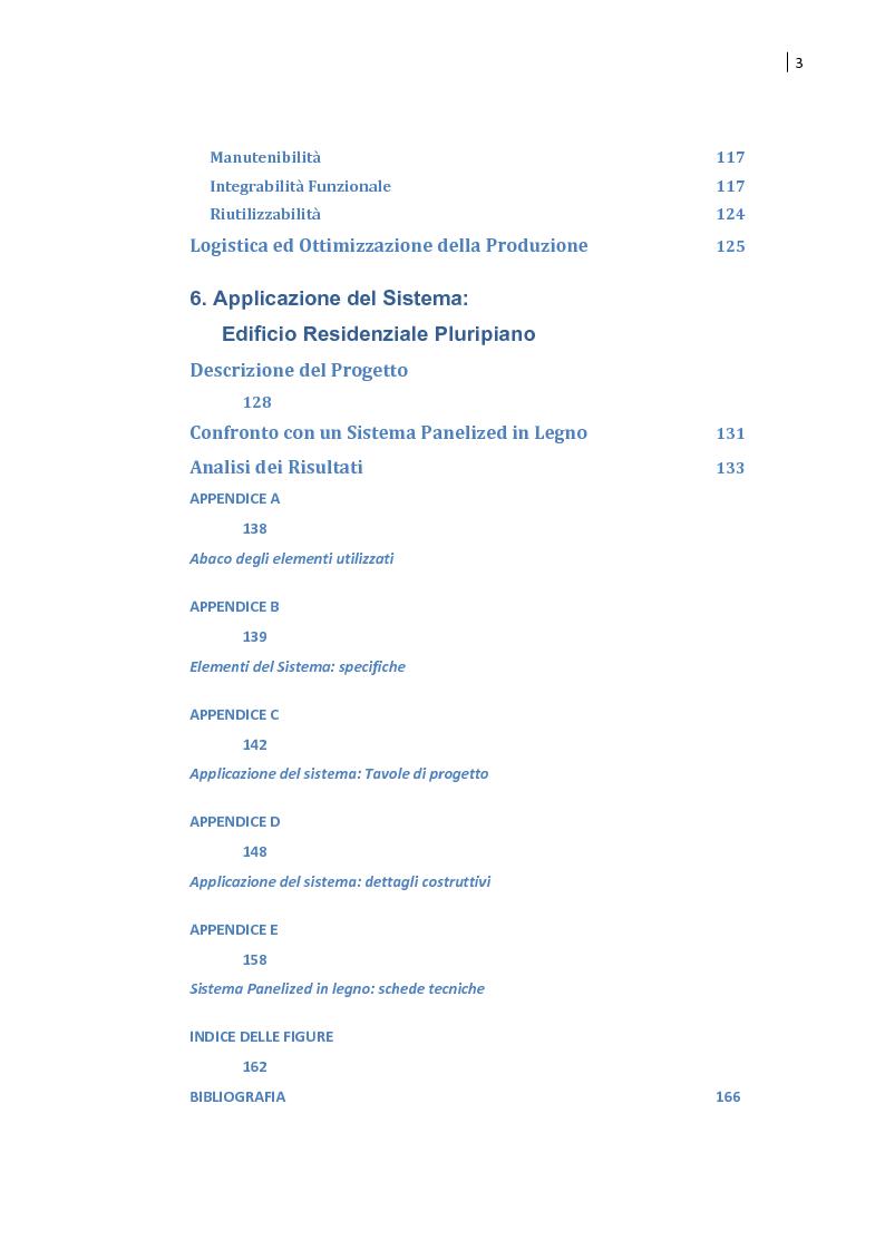 Indice della tesi: Housing in CFS e produzione industriale eco-efficiente. Sperimentazione di un sistema semi-volumetrico., Pagina 3