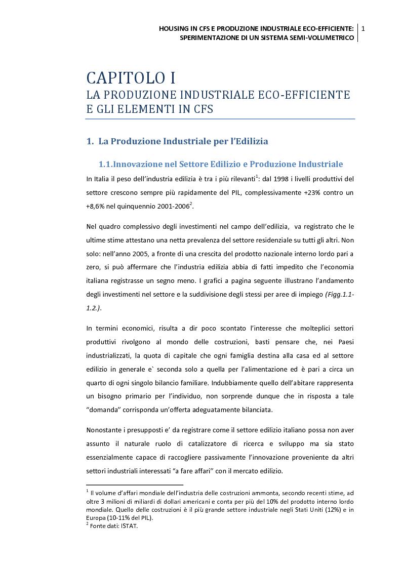 Anteprima della tesi: Housing in CFS e produzione industriale eco-efficiente. Sperimentazione di un sistema semi-volumetrico., Pagina 2