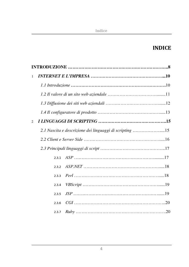Indice della tesi: Sviluppo di un Configuratore di Prodotto per il Web, Pagina 1