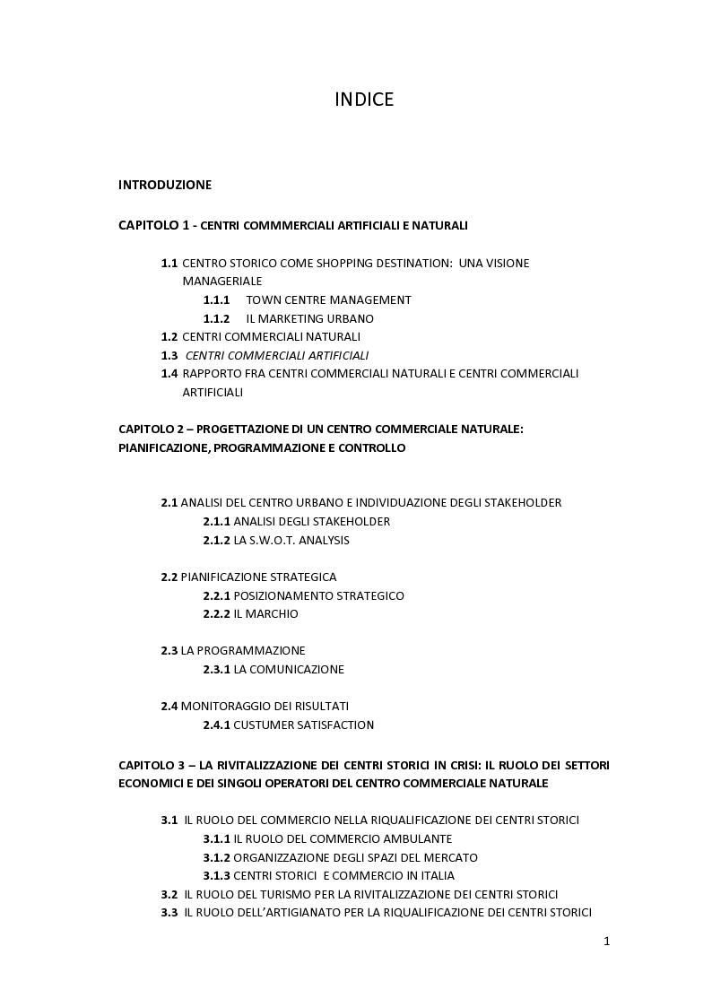 Indice della tesi: Centri Commerciali Naturali, Pagina 1