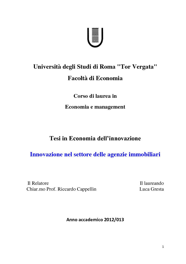 Anteprima tesi laurea triennale innovazione nel - Agenzie immobiliari maser ...