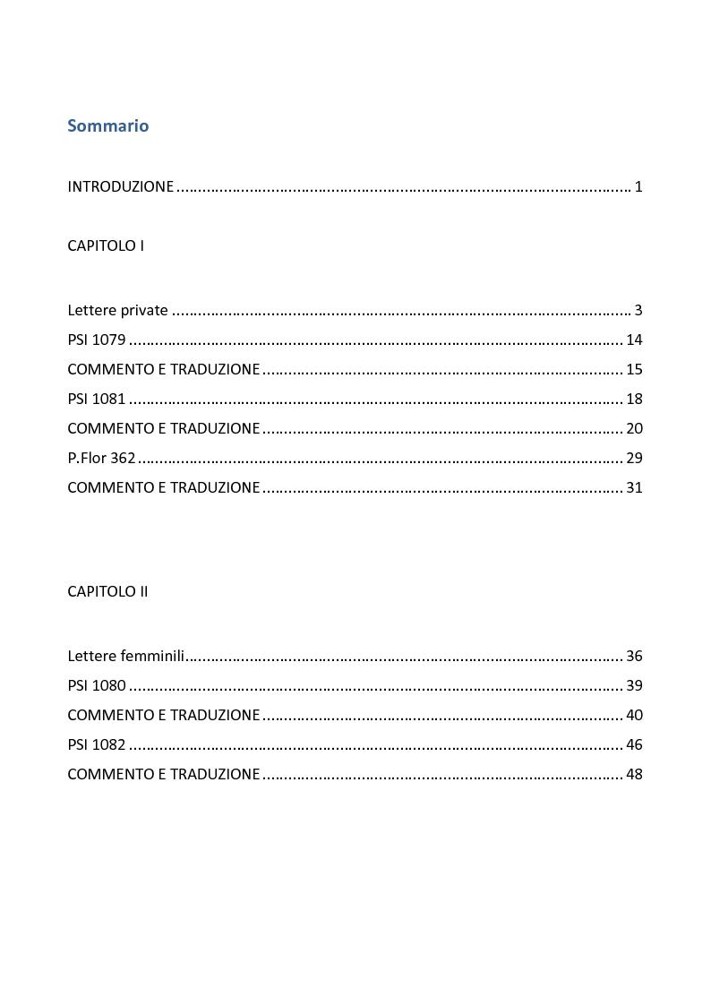 Indice della tesi: Dai papiri della Società italiana: Lettere private e Poesia epica, Pagina 1