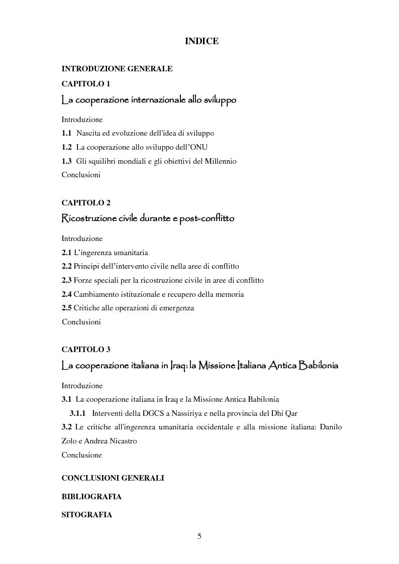 Indice della tesi: La difficoltà di ricostruzione nei contesti di conflitto: il caso della Missione Italiana Antica Babilonia in Iraq, Pagina 1
