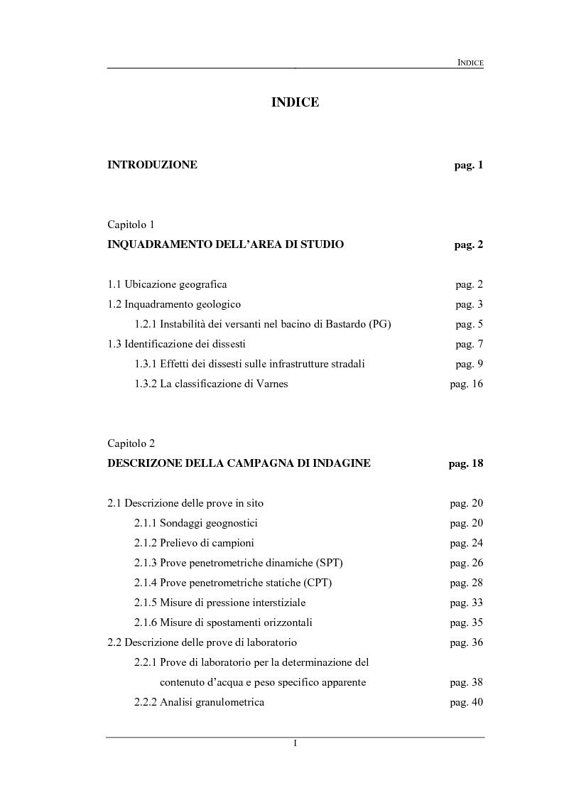Indice della tesi: Progetto di adeguamento della S.P. 451-1 nel tratto tra Bastardo e La Bruna.  Indagini e verifiche per il consolidamento delle scarpate instabili tra il km 9 e il Km 11, Pagina 1