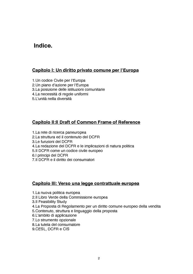 Indice della tesi: Proposte di disciplina europea del contratto e raffronti con il diritto interno, Pagina 1
