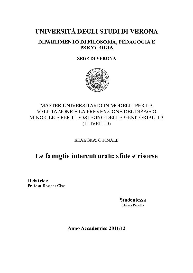 Anteprima della tesi: Famiglie interculturali: sfide e risorse, Pagina 1