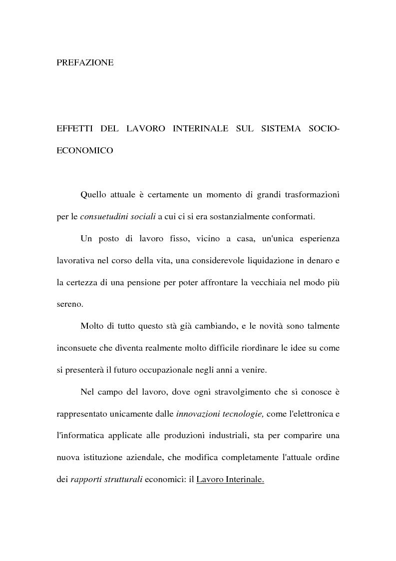 Anteprima della tesi: Effetti del lavoro interinale sul sistema socio-economico, Pagina 1