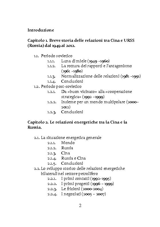 Indice della tesi: Russia e Cina: storia delle relazioni dal 1949 al 2012 e relazioni petrolifere dal 1992 al 2012, Pagina 1