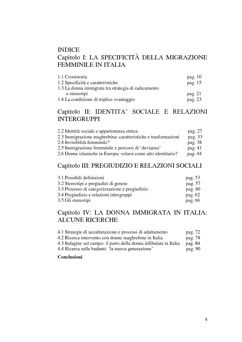 Indice della tesi: Donne immigrate in Italia: tra percorsi identitari e relazioni pregiudiziali, Pagina 1