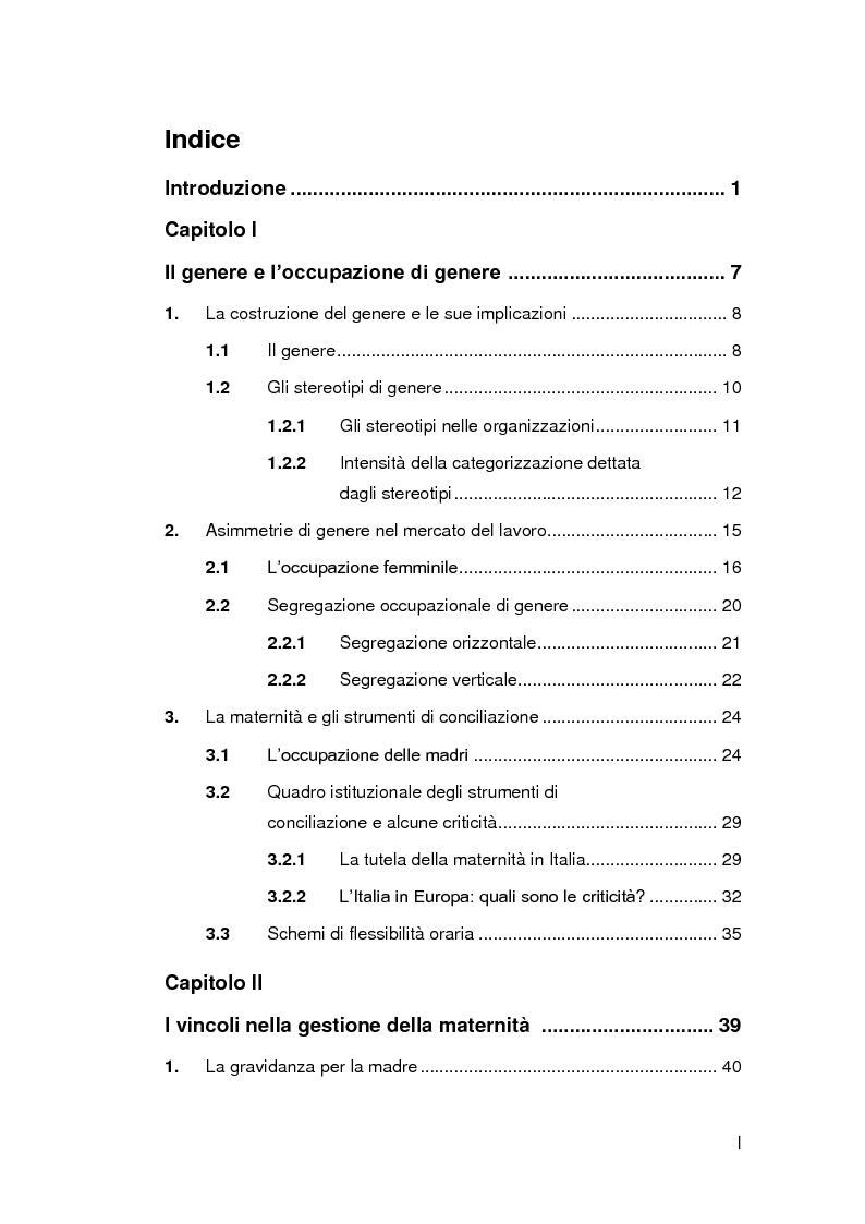 Indice della tesi: Genere, lavoro e organizzazione. La maternità nel Diversity Management, Pagina 1