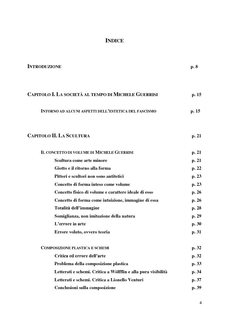 Indice della tesi: Dal procedimento artistico alla critica. Intorno alle idee estetiche di Michele Guerrisi, Pagina 1