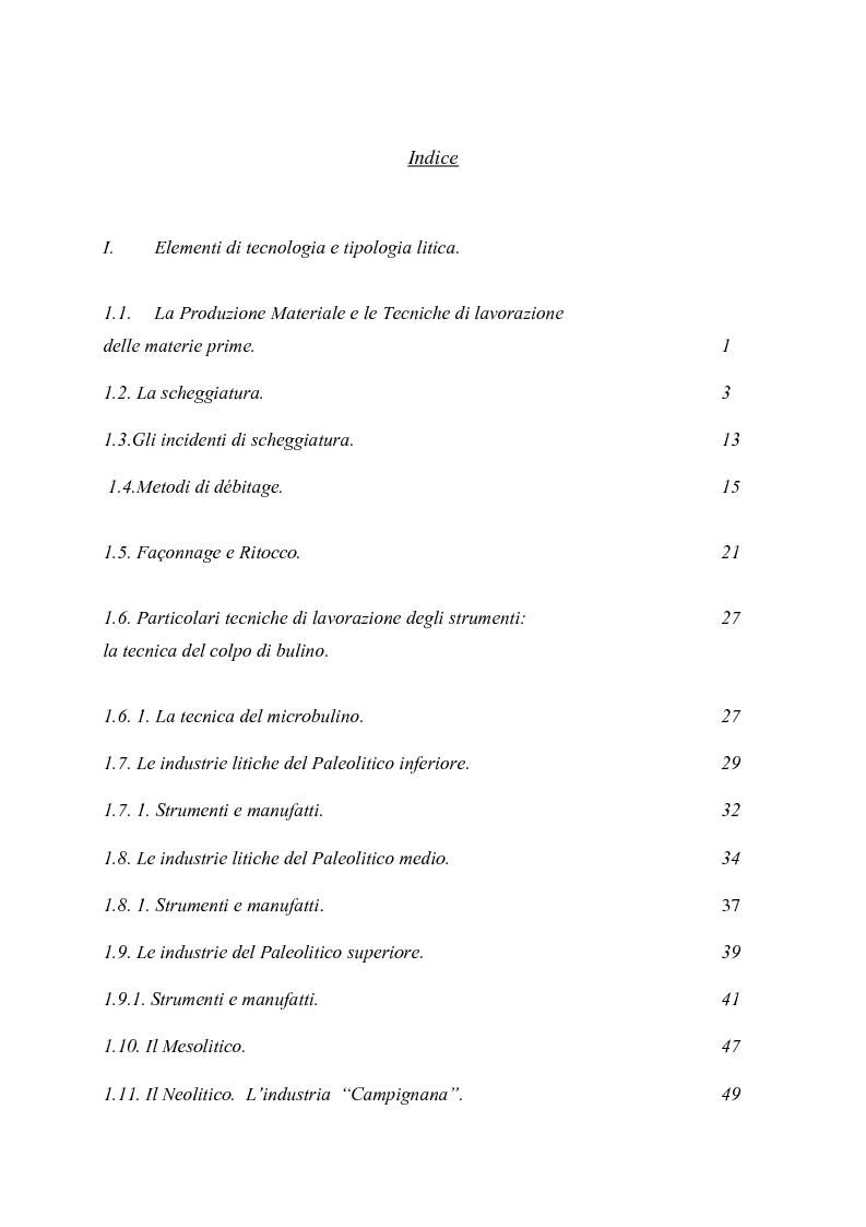 Indice della tesi: Il Museo Civico Aufidenate di Castel di Sangro (AQ): la sezione preistorica e lo studio del materiale litico di raccolta, Pagina 1