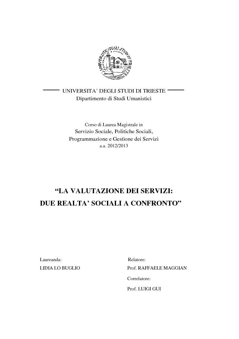 La valutazione dei servizi due realt sociali a confronto for Programmazione e gestione dei servizi educativi