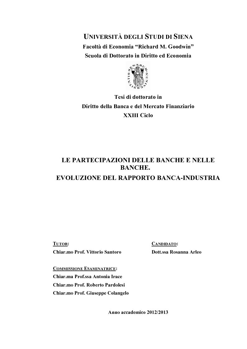 Anteprima della tesi: Le partecipazioni delle banche e nelle banche. Evoluzione del rapporto banca-industria, Pagina 1