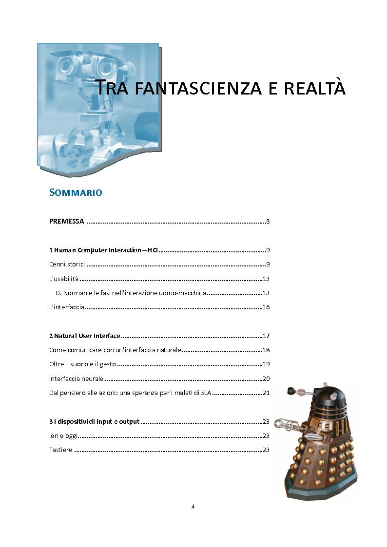 Indice della tesi: Tra fantascienza e realtà: comunicare con una macchina è davvero possibile?, Pagina 1