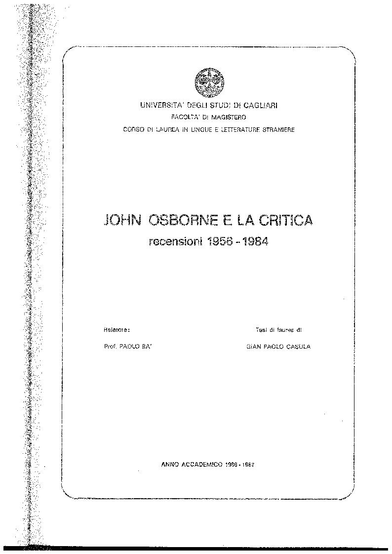 Anteprima della tesi: John Osborne e la critica. Recensioni 1956-1984, Pagina 1