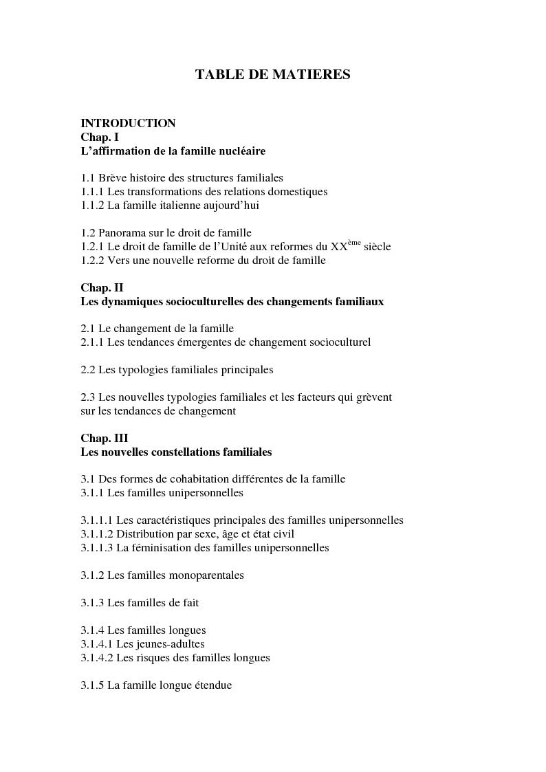 Indice della tesi: Evolution des structures familiales: de la famille traditionnelle aux familles contemporaines, Pagina 1