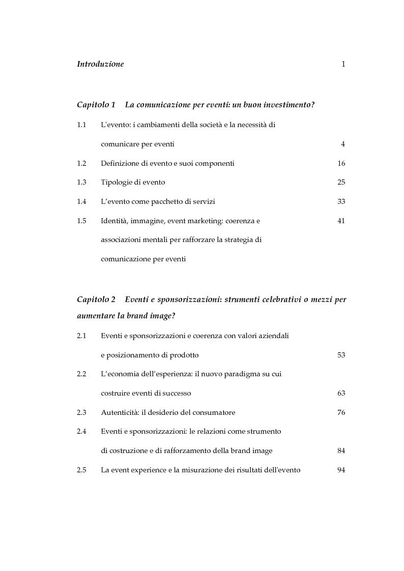 Indice della tesi: Come gli eventi costruiscono, migliorano e rafforzano la brand image: il caso Illycaffè, Pagina 1