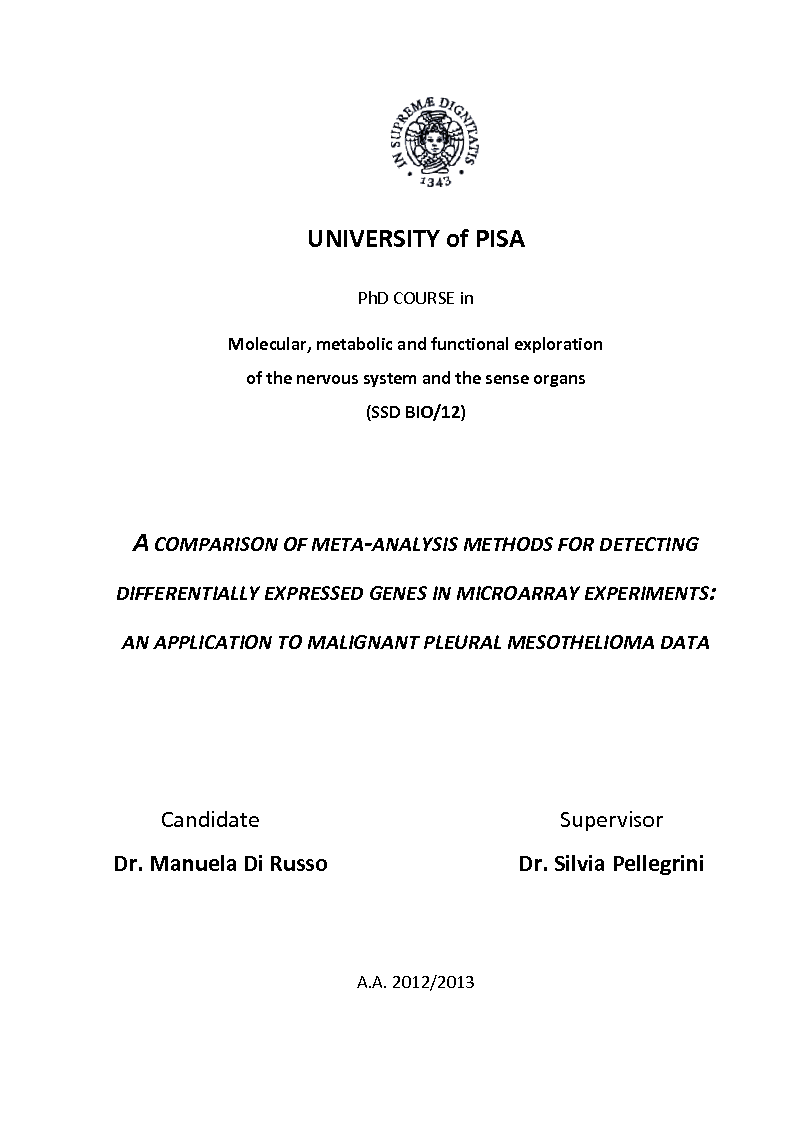 Anteprima della tesi: A comparison of meta-analysis methods for detecting differentially expressed genes in microarray experiments: An application to malignant pleural mesothelioma data., Pagina 1