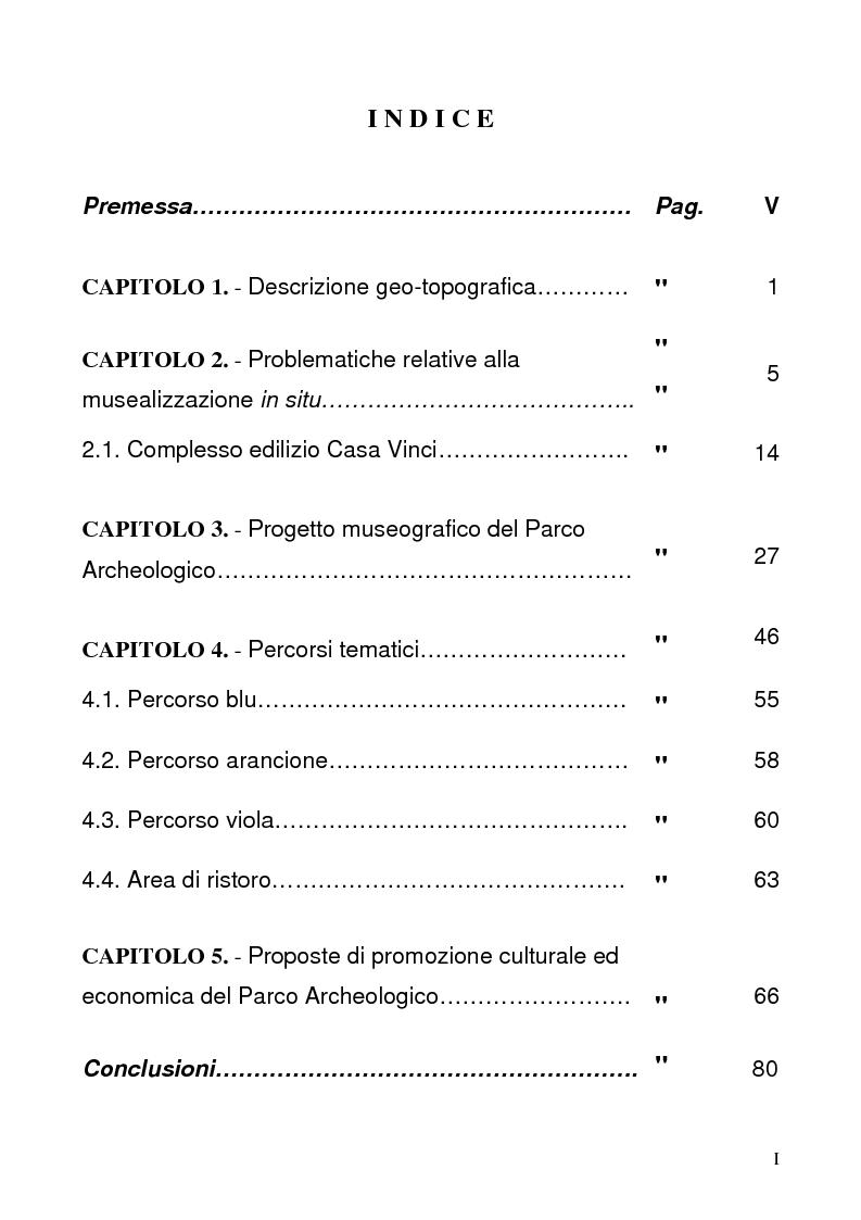 Indice della tesi: Area Archeologica di Morgantina: un'ipotesi di musealizzazione all'aperto, Pagina 1