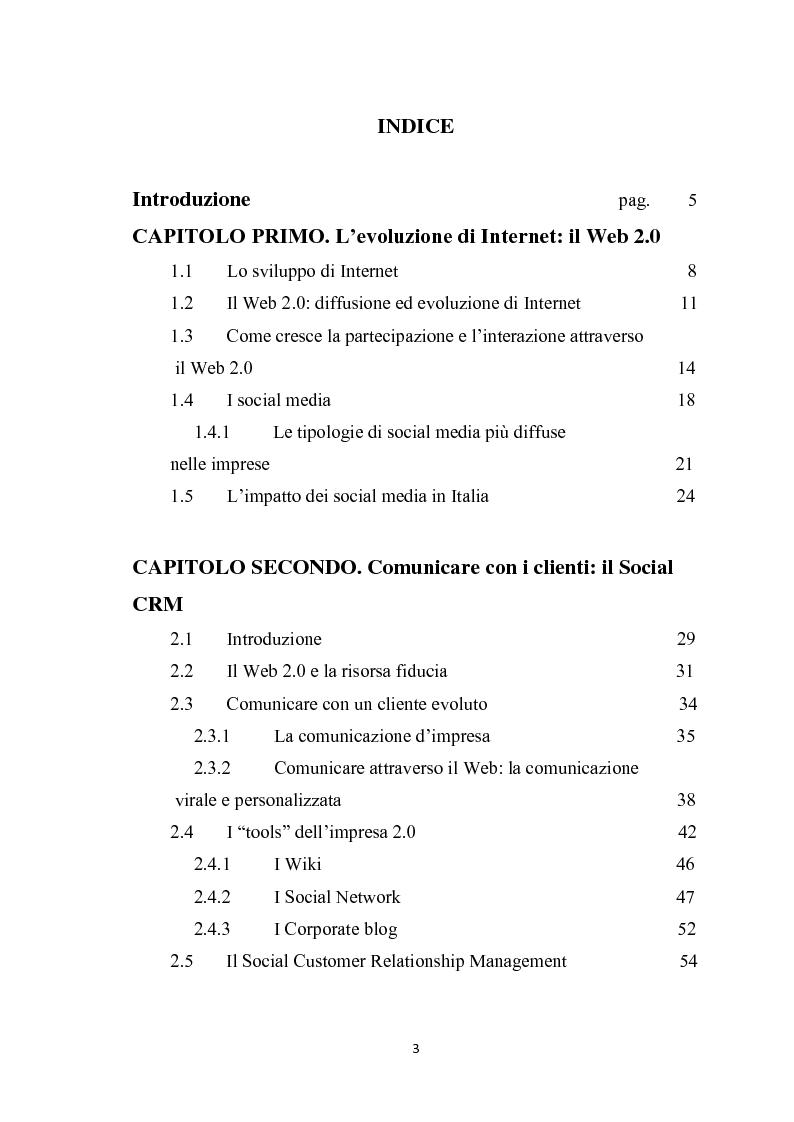 Indice della tesi: L'evoluzione del web e gli effetti sulla comunicazione con i clienti. Alcune evidenze nelle imprese alberghiere, Pagina 1